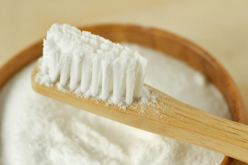 Baking soda on toothbrush