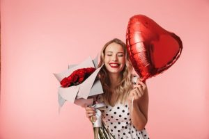 Woman smiling in bothell on Valentine's Day